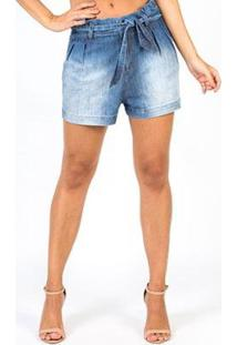 Shorts Jeans Star Luck Clochard Feminino - Feminino-Azul