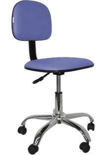 Cadeira De Escritório Secretária Giraótira Polo Cr Corano Azul Claro