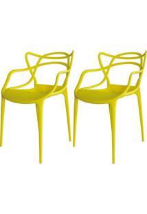 Kit 02 Cadeiras Facthus Amsterdam Amarelo