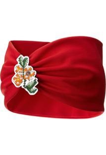 Maison Michel Headband Kasia Com Bordado Floral - Vermelho
