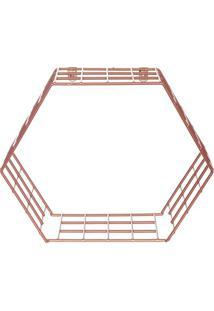 Cubo Hexagonal Decorativo- Ros㪠Gold- 28X32X15Cmmetaltru