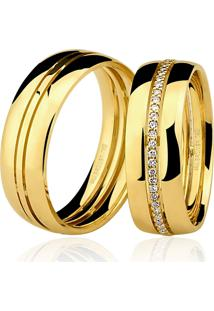 Aliança Kumbayá Trabalhada Em Ouro 18K Com 7 Mm De Largura Com Diamantes Anatômica