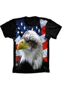 Camiseta Baby Look Lu Geek Flag Usa Eagle Preto - Tricae
