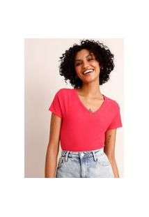 Camiseta Flamê De Algodão Básica Manga Curta Decote V Pink 2