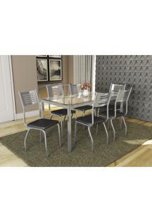 Conjunto Mesa Reno Com 6 Cadeiras Munique Preto E Cromado Kappesberg Crome