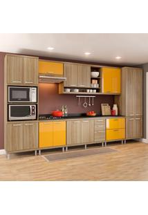 Cozinha Completa Com Tampo 17 Portas 5833 Argila/Amarelo - Multimóveis