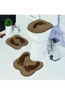 Jogo Banheiro Dourados Enxovais Formato Pegada Castor