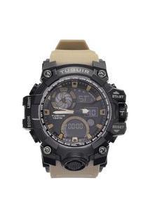 Relógio Masculino 10Atm Analógico E Digital Tg108 Preto E Marrom