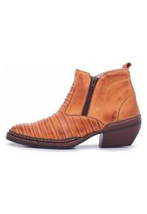 Bota Cano Curto Em Couro Top Franca Shoes Whisky