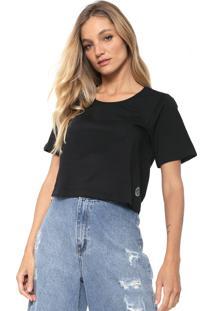 Camiseta Cropped Cantão Lisa Preta