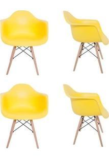 Cadeira Mp Decor Eiffel Melbourne Amarelo 4 Cadeiras