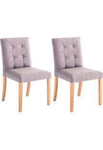 Conjunto Com 2 Cadeiras De Jantar Hera Cinza E Castanho