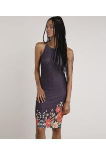 Vestido Feminino Curto Halter Neck Estampado Floral Alça Fina Preto