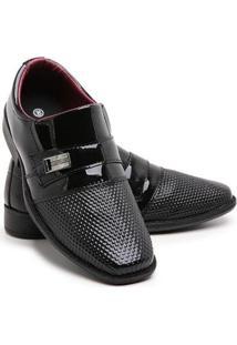 Sapato Social Infantil Menino Bico Quadrado Verniz Dia A Dia - Masculino-Preto
