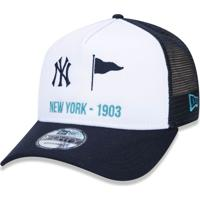 a8084d2877d43 Boné New Era 940 Aframe Snapback New York Yankees Branco Marinho