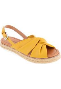 Sandalia Rasteira Detalhe Tiras Transpassadas Amarelo