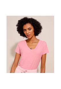 Camiseta Flamê De Algodão Básica Manga Curta Decote V Rosa
