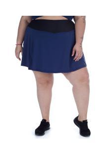 Short Saia Com Proteção Solar Uv Wonder Size Bolso - Feminino - Azul Escuro