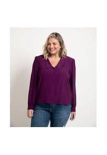 Camisa Com Manga Bufante Em Crepe Com Gola Diferenciada Curve & Plus Size | Ashua Curve E Plus Size | Roxo | Gg