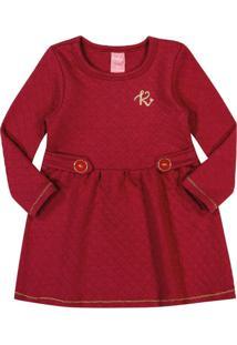 Vestido Kinha Primeiros Passos Em Matelassê Outono Inverno 03 Vermelho Escuro - Tricae