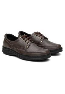 Sapato Social Masculino Ortopédico Cadarço Conforto Marrom