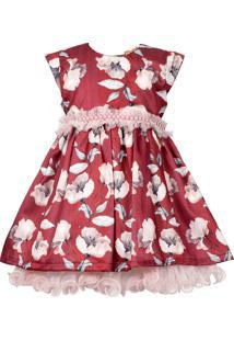 Vestido Bebê Cattai Floral Vermelho