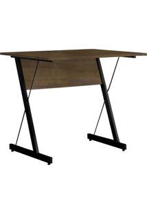 Mesa Para Computador Escrivaninha Zetta 90Cm Castanho - Fit Mobel