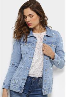 Jaqueta Jeans Biotipo Longa Destroyed Pérolas Feminina - Feminino-Azul Claro