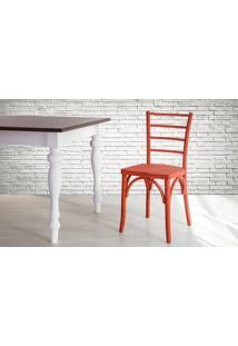 Cadeira De Madeira Estilo Bar Torneada Com Encosto E Assento Anatômico Vermelha Charlotte - 40,5X49X88 Cm