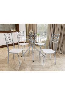 Conjunto Mesa Ural C/ 4 Cadeiras Alemanha Cromado/Branco Kappesberg