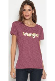 Camiseta Com Inscrição Da Marca Mescla- Bordô & Brancawrangler
