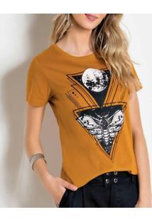 Camiseta Modapop Estampa Frontal Mostarda. - Kanui