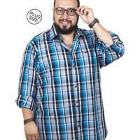 Camisa Plus Size Bigshirts Manga Longa Xadrez - Preta Azul e6213be5168