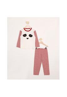 Pijama Infantil De Algodão Manga Longa Panda Com Listras Brandili Vermelho