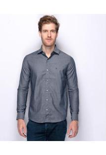 Camisa Social Teodoro Acetinada Vang 60 Fios Nobre Masculina - Masculino-Marinho
