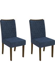 Cadeiras Kit 2 Cadeiras Cad129 Walnut/Azul Marinho - Kappesberg