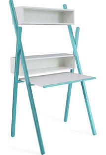 Escrivaninha Branca E Azul Moderna Para Quarto De Menino Com Estante E Nichos Sue Woodinn - 87X62X158 Cm
