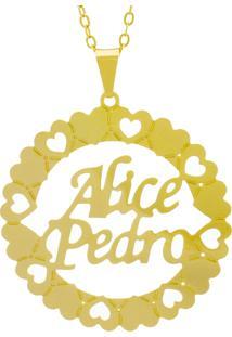 Gargantilha Horus Import Pingente Manuscrito Alice Pedro Banho Ouro Amarelo