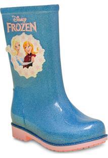 ae283c3b093 Bota Fem Infantil Grendene 21432 Disney Galocha Fairytale Vidro Gliter  Prata Azul Ros