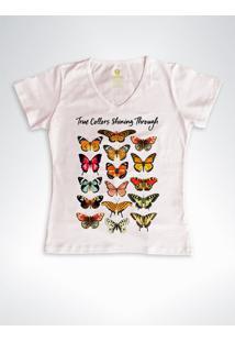 Camiseta Feminina Gola V Cool Tees Borboletas True Collors Rose - Rosa - Feminino - Algodã£O - Dafiti