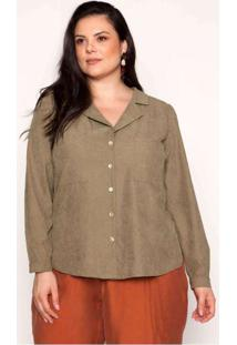 Camisa Almaria Plus Size Pianeta Crepe Gola Blazer