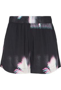 Double Rainbouu Palm Tree Print Shorts - Preto