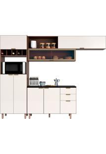 Cozinha Compacta 3 Peças C/ Paneleiro Flair-Poliman - Nogueira / Of White