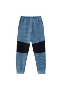 Calça Juvenil Abrange Com Faixa No Joelho Azul Abrange Casual Azul