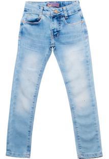 Calça Jeans Infantil Oznes Menina Azul Claro - 4