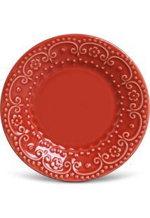 Prato Sobremesa Esparta Cerâmica 6 Peças Vermelho Porto Brasil