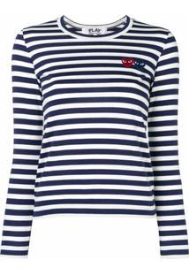 Comme Des Garçons Play Camiseta Listrada Com Logo - Azul