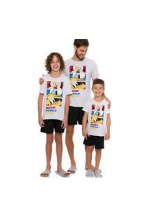 Pijama Infantil Feminino Manga Curta Disney 53030009 Branco