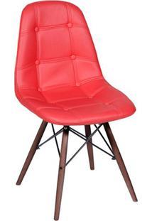 Cadeira Eames Botonê- Vermelha & Madeira Escura- 83Xor Design