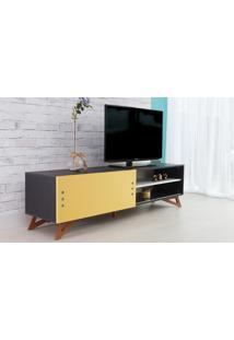 Rack De Tv Preto Moderno Vintage Retrô Com Porta De Correr Amarela Freddie - 180X43,6X48,5 Cm